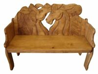 Carved horsehead bench