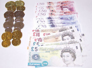 Childrens Fake Money Play Set - Coins & Notes, Paper Pounds & Plastic Pennies