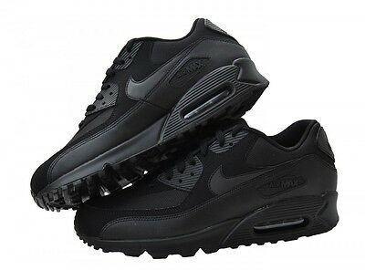 NIKE AIR MAX 90 ESSENTIAL ORIGINAL TRAINERS LEATHER ALL BLACK SIZE 6-11 FREE P&P