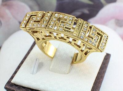 Greek Design Ring - Greek Key Design Ring,18k Gold GF with Crystals, Size US 7, 8, 9, 10