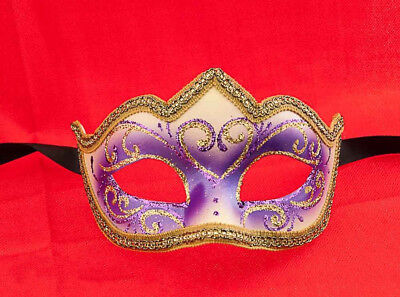 Mask from Venice Colombine a Tip Sissi Purple Authentic Venetian 746 V39B