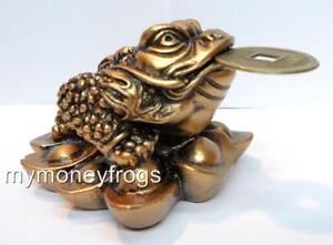 #CP Copper Brass Tone Feng Shui Money Lucky Wealth Charm Chinese Coin 3 leg Frog