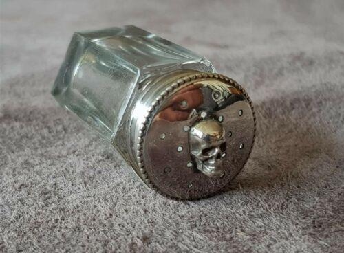 ANTIQUE DOCTORS for hypertension MEMENTO MORI SKULL silver crystal salt shaker