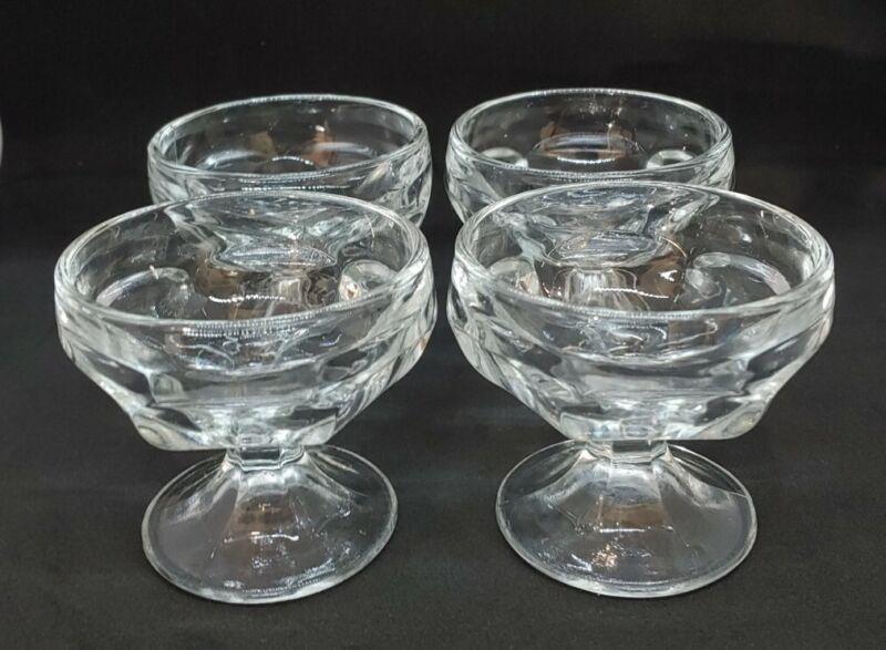 Vintage Ice Cream Sundae Glasses - Set of 4