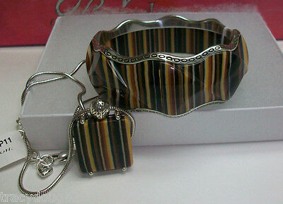 Brighton Caramelo Necklace & Braclet Set Includs Heart Tin Or Pouchs