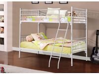 """""""SAME DAY *FREE* LONDON DELIVERY"""" """"NEW STYLISH HIMLEY WHITE or SILVER METAL BUNK BED"""" """"OPT MATTRESS"""""""