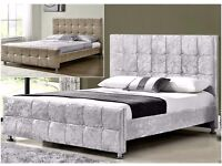 Cube crush velvet double bed with memory foam or orthopaedic mattress**free delivery**