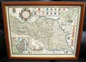 Framed old map print, the North and East Ridings of the North Yorkshire Dales.