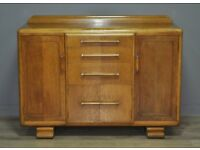 Attractive Large Vintage Art Deco Oak Sideboard Cabinet With Cupboards & Drawers