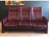 Retro Ekornes Stressless 3 Seater Rosewood Leather Reclining Sofa