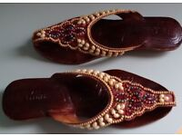 Beaded Leather NEW Sandals, Size 6.5