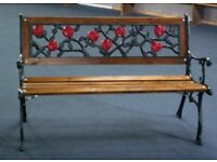 Cast Iron Garden Bench, Fully Refurbished