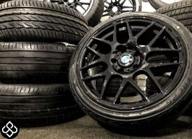 """NEW 18"""" BMW CSL STYLE ALLOY WHEELS WITH TYRES - 225 40 18 -CRYSTAL BLACK"""