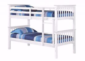 **WHITE WOODEN BUNK BED** WITH SEMI ORTHOPEDIC MATTRESS CONVERTED IN TO 2 SINGLES