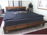 Low Oriental Wooden Double Bed Frame (coffee bean)