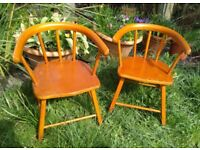 Pair of Vintage Herlag Children's Captain's Chairs and Table