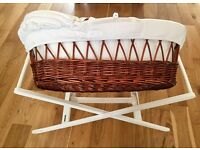 John Lewis Moses Basket & John Lewis Wooden Stand: GREAT CONDITION (hardy uses)