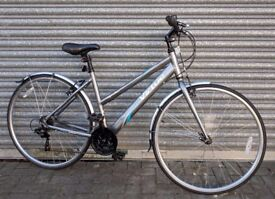 Ladies hybrid town bicycle. Silver Bike 12speed 18""