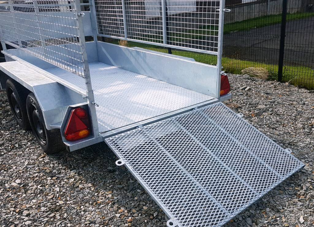 Clean second hand 8x4 twin wheel trailer with meshsides and ramp