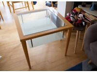 Calligaris Designer Beech and Glass Side Table
