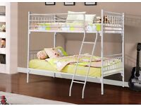 """RRP£250"" WHITE Metal Frame SINGLE BUNK bed Frame 3ft kids or adults ! Convertible as 2 Single Beds-"