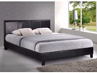【Special Offer】Faux Leather Bed Frame Black/Brown/White With Semi Orthopedic Mattress