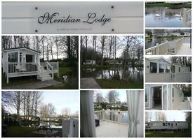 LUXURY LODGE caravan for sale, GREAT VIEWs, private lakefront garden, haggerston Castle