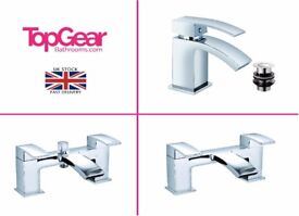 Modern Solid Curved Waterfall Bathroom Tap Sets - Basin Mono, Bath Filler, Bath Shower Mixer