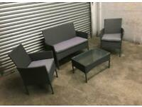 FREE DELIVERY GREY GARDEN RATTAN SOFA, CHAIRS & GLASS TOP TABLE SET GOOD CONDITION