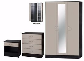 *12 MONTH GUARENTEE* High Gloss Grey Bedroom Wardrobe Set With Chest and Side Table