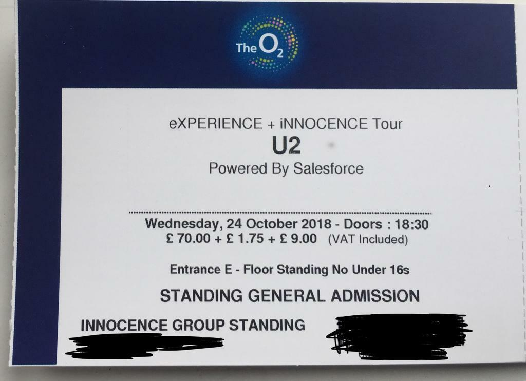 U2 Ticket Standing at the O2 for 24th October.
