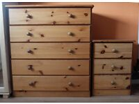 PINE WARDROBE, CHEST OF DRAWERS AND BEDSIDE CABINET