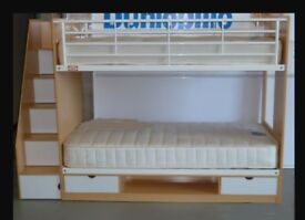 Excellent condition Bunk Beds, standard single size with solid stairs, loads of storage.