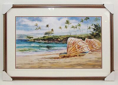 Custom Framed Art - Unknown Artist - Beach Scene Chairs w/ Canopy - Ocean