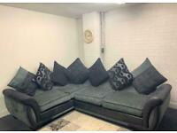 Beautiful grey & black dfs corner sofa delivery 🚚 sofa suite couch furniture