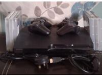 PlayStation3 slim very good condition comes with 2 wireless controllers all wires needed and games