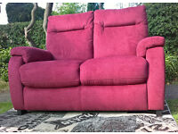 Ex-display Designer 2 Seater Burgundy Fabric Material Sofa.