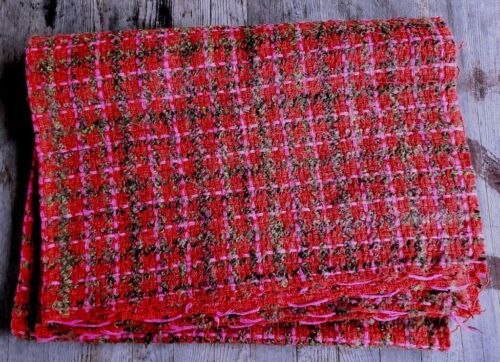 """Gorgeous Vintage Wool and Mohair Fabric Red / Pink / Gray - 56"""" x 36"""""""
