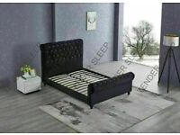 HIGH QUALITY COMFORT FEEL PLUSH VELVET FULLY OTTOMAN STORAGE CHESTERFIELD SLEIGH STORAGE KING SIZE