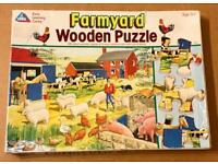 Vintage Early Learning Centre 24 Piece Farmyard Wooden Jigsaw Puzzle. Complete.