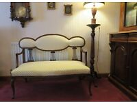 Mahogany frame Victorian style settee / bench