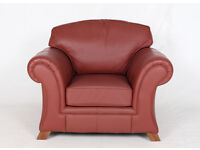 Leather Armchair Lounge Chair Red of 2 **FREE LOCAL DELIVERY - 2 MAN TEAM**