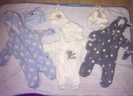 Newborn snowsuits and hats