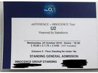 Standing ticket for U2 at the O2 Arena, London Wed 23rd October