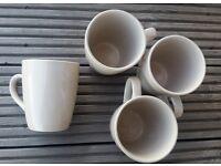 4 large beige mugs, new