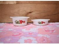Pyrex JAJ June Rose Junior Spacesaver Casserole Dishes retro vintage
