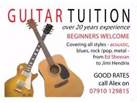 Guitar Tuition. Teacher for guitar. Beginners Welcome...from Ed Sheeran to Hendrix and beyond