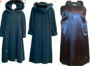 Deadstock New 12 14 Long Wool & Real Fur Parka Winter Coat Teal Blue L 40 Warm Winter Jacket Swing Wide Back maternity