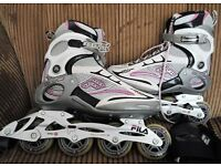 FILA inline skates size EU 41, UK7.5 with protectors