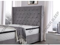 (OTTOMAN)PLUSH VELVET NICE GREY BED IN DOUBLE/KING SIZES IN GREY AVAILABLE WITH HARD/FOAM MATTRESS
